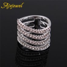 Ajojewel Size 7 4 Layers Crystal CZ Women White Wide Ring Bands Jewelry Geometric Finger Rings