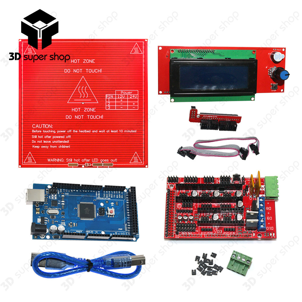 CNC 3D Printer Kit Mega 2560 R3 Development Board + Heated Bed MK2B + RAMPS 1.4 Controller Control Panel + LCD 2004 ramps 1 4 control board mega 2560 r3 panel 2004 lcd display screen kit for 3d printer