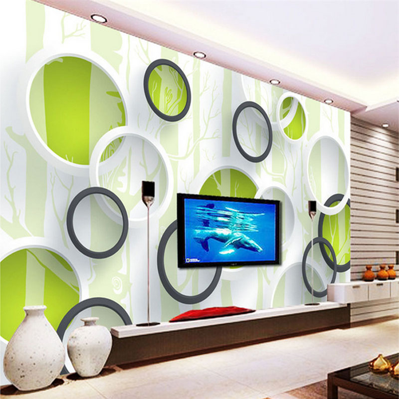 Custom Photo Wallpaper Modern 3D Green Tree Circle Wall Painting Abstract Art Mural Living Room TV Sofa Background Wall Paper 3D