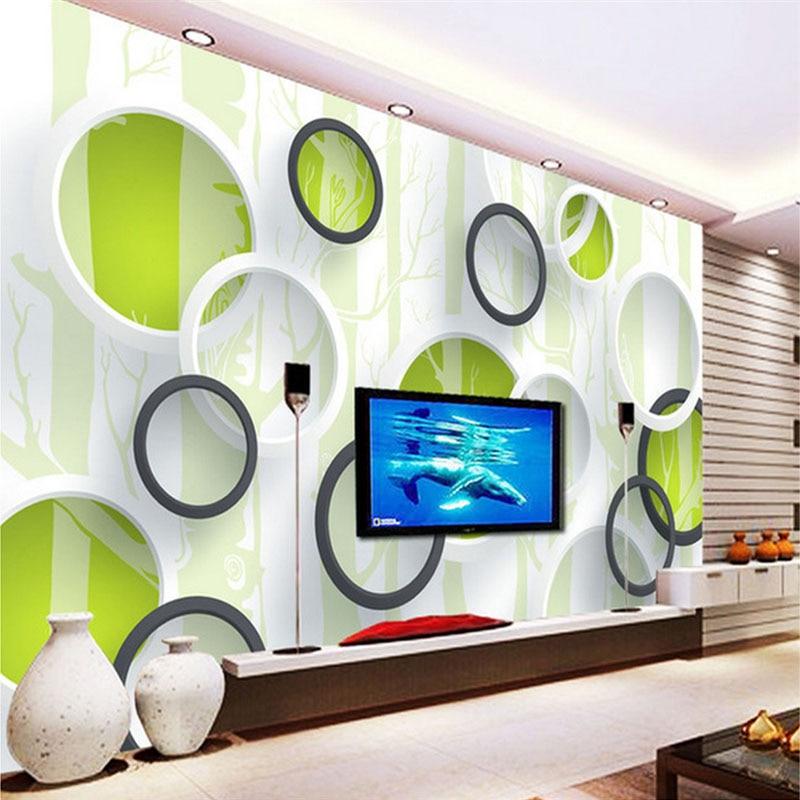 Custom Photo Wallpaper Modern 3D Green Tree Circle Wall Painting Abstract Art Mural Living Room TV Sofa Background Wall Paper 3D