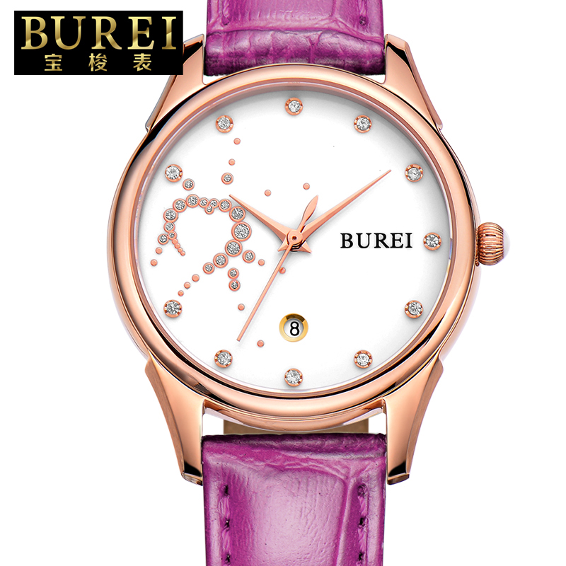 ФОТО BUREI Elegant Women Sapphire Crystal Genuine Leather Band Fashion Quartz Watch Waterproof Wristwatches With Premiums Package 301