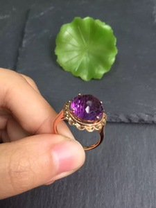 Image 3 - Fine Jewelry Real 18K Gold Round Diamonds100% Natural Amethyst Gemstones Female Rings for Women Fine Ring