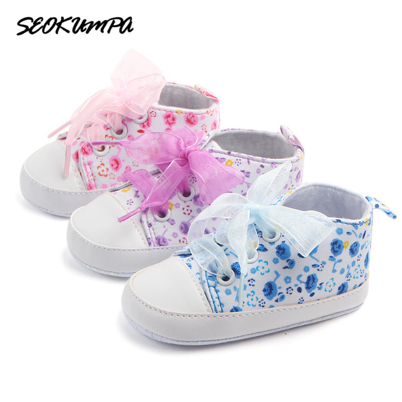 2018 Spring Autumn Canvas Toddler Baby Shoes Girls Boys First Walkers Bebe Baby Sneakers Lace Newborn Baby Moccasins Crib Shoes