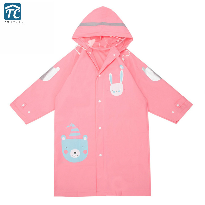 Rainsuit Men And Women Children Raincoat Green Eva Hooded Baby Poncho Rain Gear Coat Rainwear Student Cartoon Animal Style