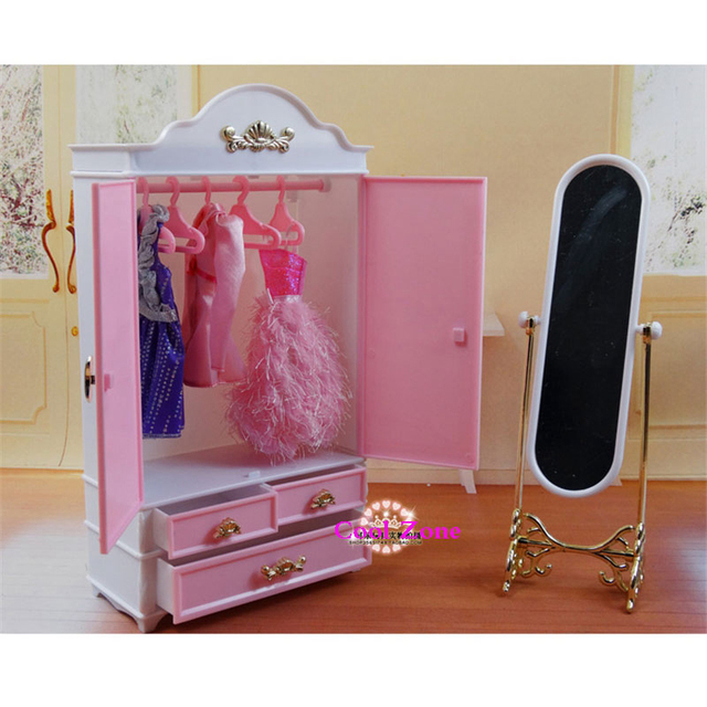 New Arrival Miniature Furniture Wardrobe&Dressing Mirror for Barbie Doll House Classic Toys for Girl Free Shipping