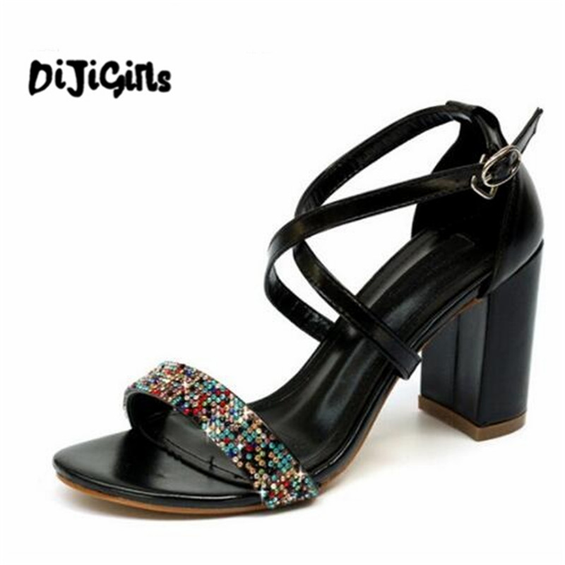 2018 new Summer hot fashion Roman Rhinestone buckle Women Shoes sexy High Heels Solid color party Pumps Woman Sandals new listing hot sales summer fashion brand sexy women fish mouth high heels sandals women shoes pumps height 9cm 3603