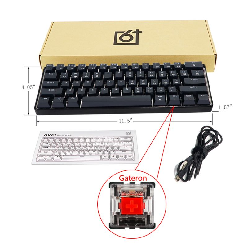 GK61 61 Key USB Wired LED Backlit Axis Gaming Mechanical Keyboard For Desktop Jy17 19 Dropship