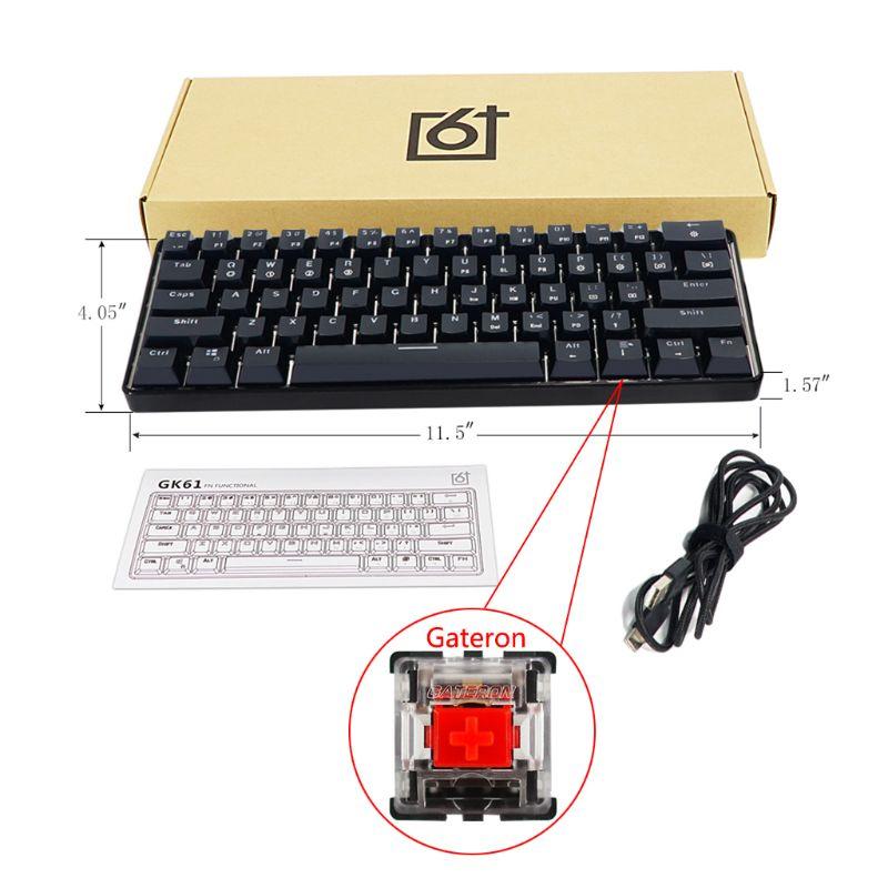 GK61 61 clé USB filaire LED rétro-éclairé axe jeu clavier mécanique pour bureau Jy17 19 livraison directe