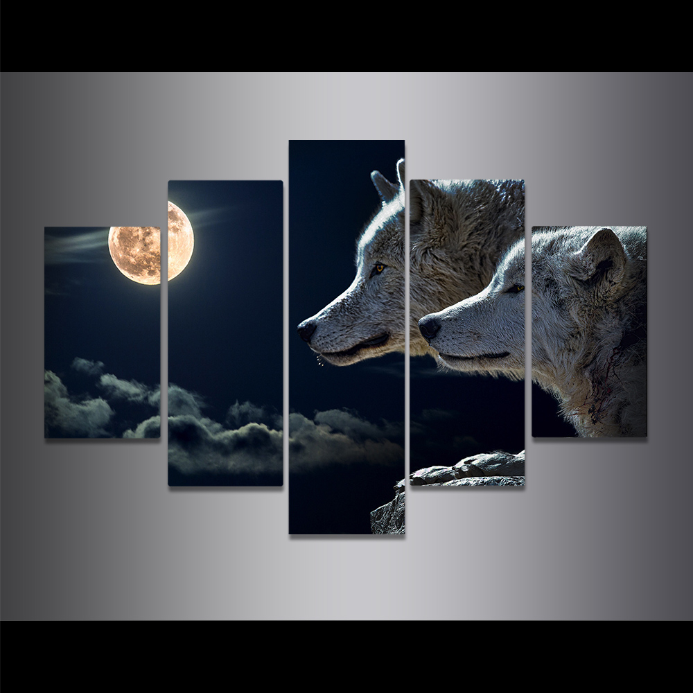 Unframed Canvas Painting Full Moon Dark Clouds Wolf On The Cliff Picture Prints Wall Picture For Living Room Wall Art Decoration