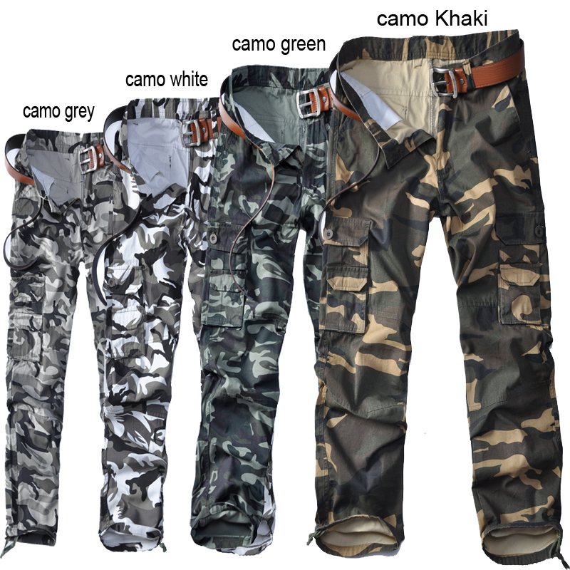 Wholesale men& casual cargo pants military camo trousers solid size loose style multi pockets cotton absort sweat for work