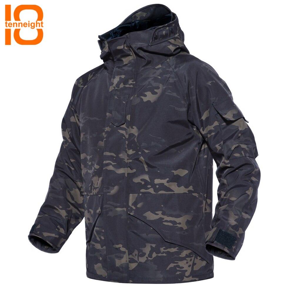 TENNEIGHT G8 tactique Veste Hommes D'hiver Camouflage épais Imperméable coupe-vent Armée parka Manteau Militaire À Capuche 2in1 Veste mâle