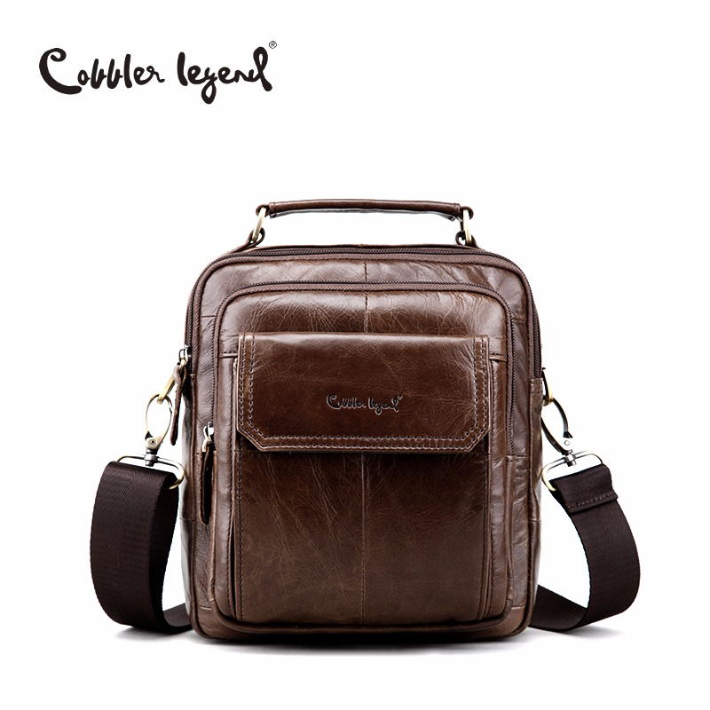 Cobbler Legend Genuine Leather Shoulder Bag For Men Natural Cowskin Small Travel Bag Man Vintage Business