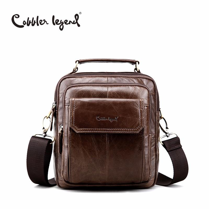Cobbler Legend Ehtne nahast õlakott meestele Natural Cowskin väike reisikott Man Vintage Business Messenger Bag Mehed