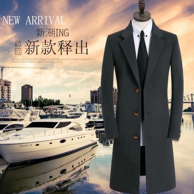 Korean casual autumn winter fashion long woolen coat men trench coats Single-breasted england overcoat mens cashmere coat grey