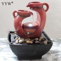 Resin Rockery Water Fountains Indoor Decoration Craft Creative LED Home Decor Figurines Feng Shui Water Fountain Office Crafts