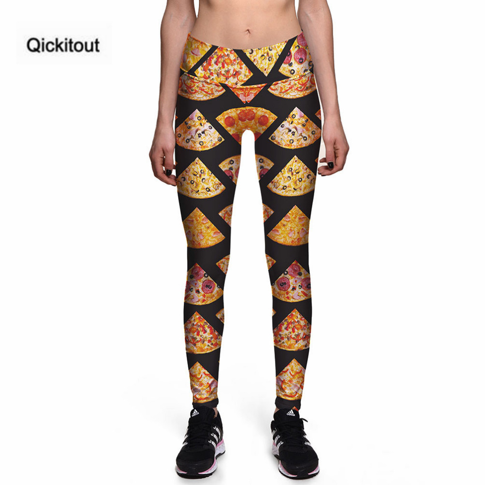 Qickitout   Leggings   Sexy New   Leggings   Symmetrical pizza 3D Print Women High waist Pants Trousers Ropa Mujer Plus Size