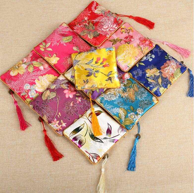 10 pc per bag 11.5x11.5CM jewelry bag,gift bag ,jewelry pouches,mixed color, silk bag flower pattern Chinese traditional style