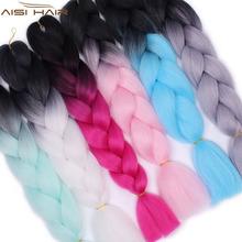 Jest peruką 24 cala 100g Pack Kanekalon plecionka przedłużanie włosów długie Jumbo warkocze Crochet włosów luzem fioletowy różowy szary niebieskie włosy tanie tanio I jest peruka 1nitki opakowanie Włókno wysokotemperaturowe Ombre