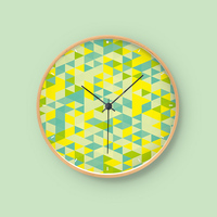 Modern Silent Circular Gradient Color Picture Wall Clock Design Wooden Frame Electronic Clock Living Bedroom Wall Clock Decor