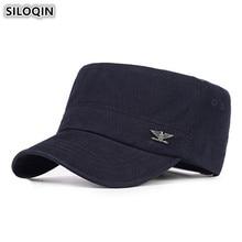 SILOQIN Mens Flat Cap Adjustable Size Cotton Retro Military Hats New Male Bone Visor Hat Snapback Dads Caps Sombrero De Hombre