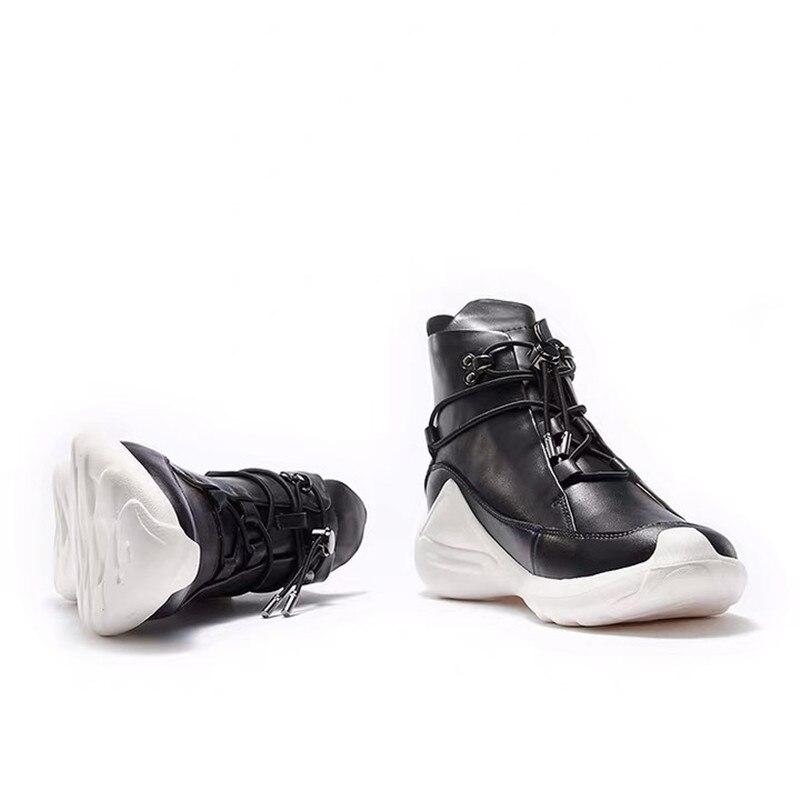 Delivr/черные мужские кроссовки унисекс; Вулканизированная обувь на толстой подошве; Masculino Adulto; Мужская обувь из натуральной кожи; формальная Мода 2019 года - 5