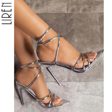 Liren 2019 PU Mature Summer Thin High Heel Sandals Party Sweet Shallow Pointed Toe Solid Buckle Strap Open Gold Silver