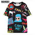 Summer Harajuku Womens Graphic Tee Top Women Unicorn Print ShortSleeve Tops Woman Tees ladies t shirt Casual tshirts black white