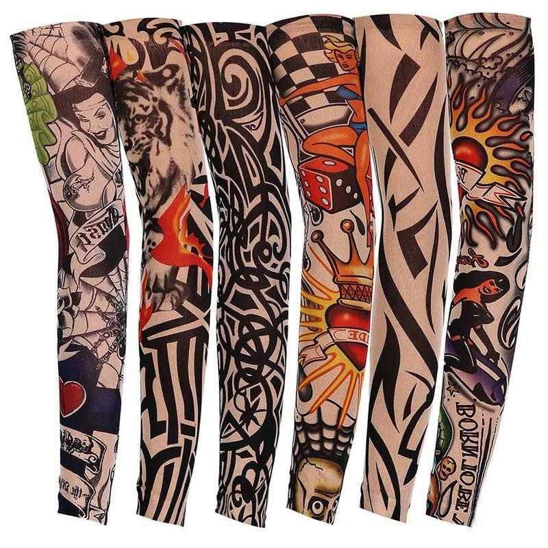 1pc Tattoo Arm Unisex Uv Running Cycling Sports Elasticity Compression Arm Warmer Warmers Basketball Arm Sleeves Men/women