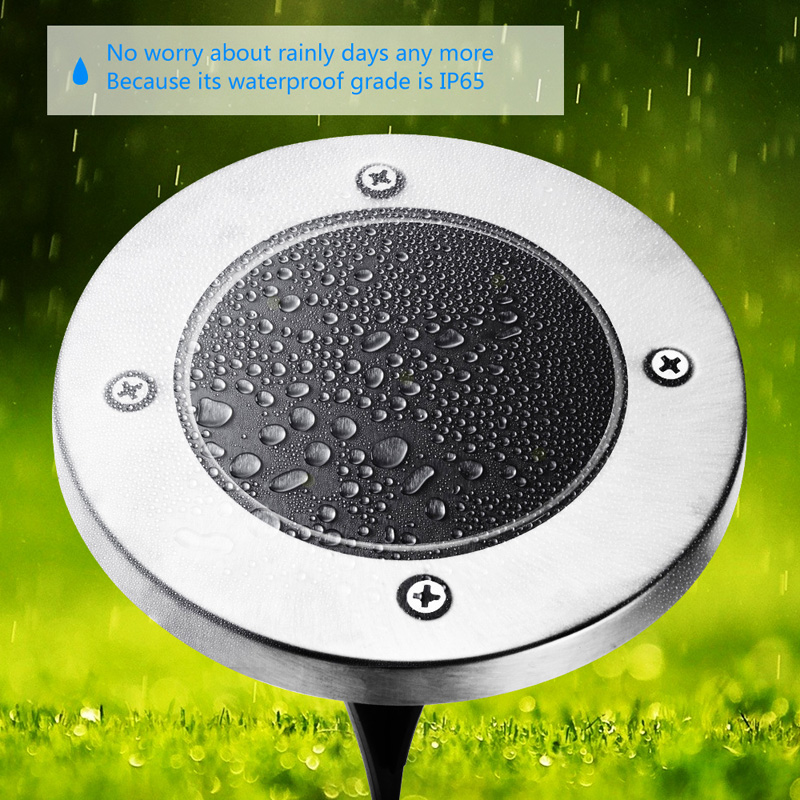 Solar Power Buried Light Ground with 5 LED Build-in 600mAh Ni-MH AAA Rechargeable Battery,White Light IP65 Waterproof Rating,Garden Lamp for Outdoor Path Garden