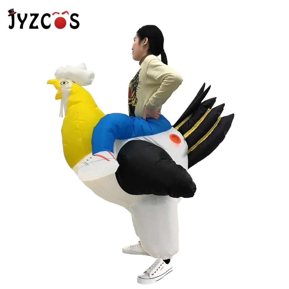 JYZCOS Adult Inflatable Chicken Costume Purim Halloween Cosplay Fancy Cock Hen Stag Night Disguise Suit