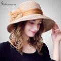 Floopy элегантный шляпа широкими полями для женщин лето Cap пляж солнцезащитный козырек шляпа с цветочное оформление SW105070