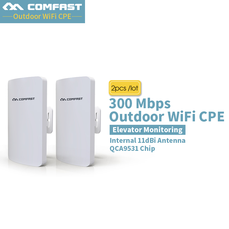 Pairs Comfast Outdoor 2.4G wifi mini router Wireless Extender Repeater AP 300Mbps Outdoor CPE Wifi Bridge Access Point AP IP Cam 2pcs high power wireless bridge cpe 2 3km comfast 300mbps 2 4ghz outdoor wifi access point ap router wifi repeater for ip camera