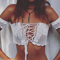 2016 New Harajuku Style Tees Slash Neck Off Shoulder Lace-up Crop Top Solid Crochet Knitted Backless Shirt For Women Qa27