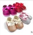Lentejuelas metálicas Bebé Mocasines Zapatos arco Rosa blingbling Primeros Caminante antideslizante Prewalker Infantil Del Niño Recién Nacido Suaves