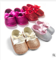 Metallic sequins  Baby Girl Moccasins Shoes bow Pink blingbling Newborn Toddler Soft First Walkers Anti-slip Infant Prewalker