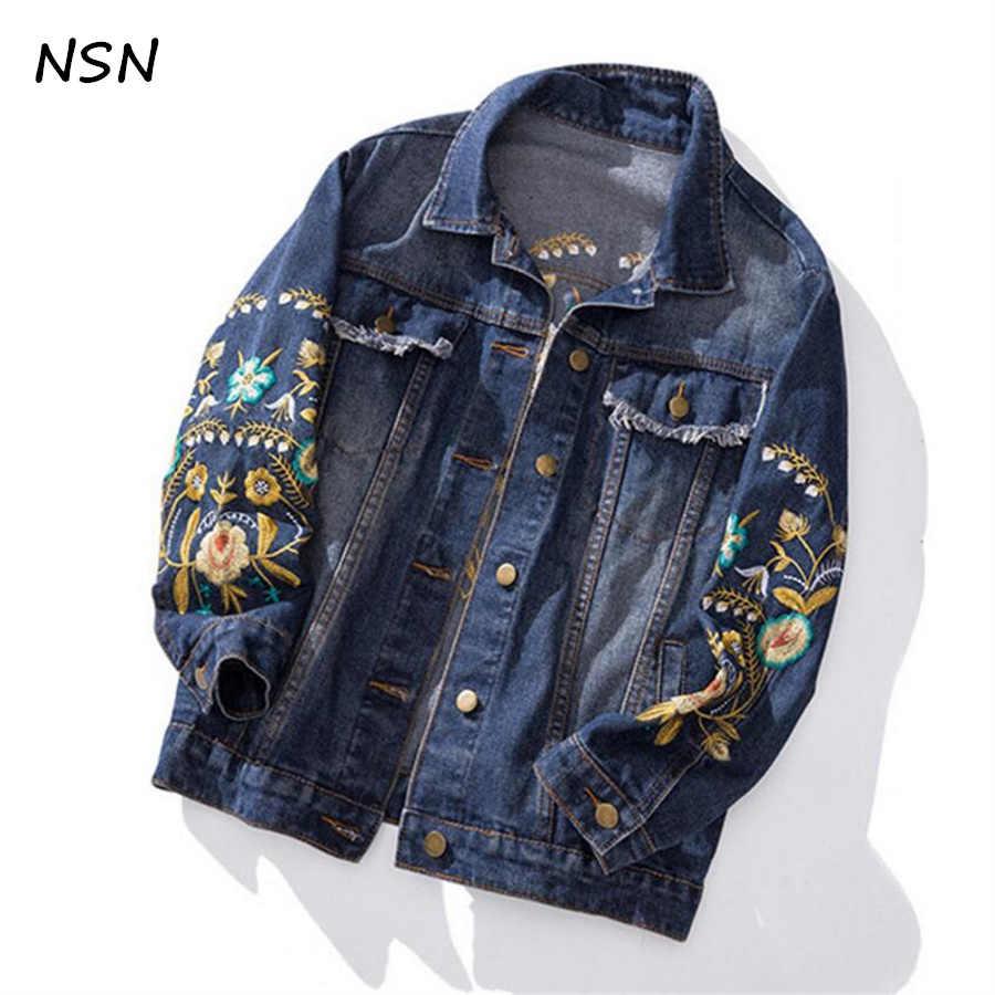 ef03e71b6cd Весна плюс Размеры Верхняя одежда Куртка процесс вышивки Мода Вышивка  джинсовая куртка 100 кг можно носить