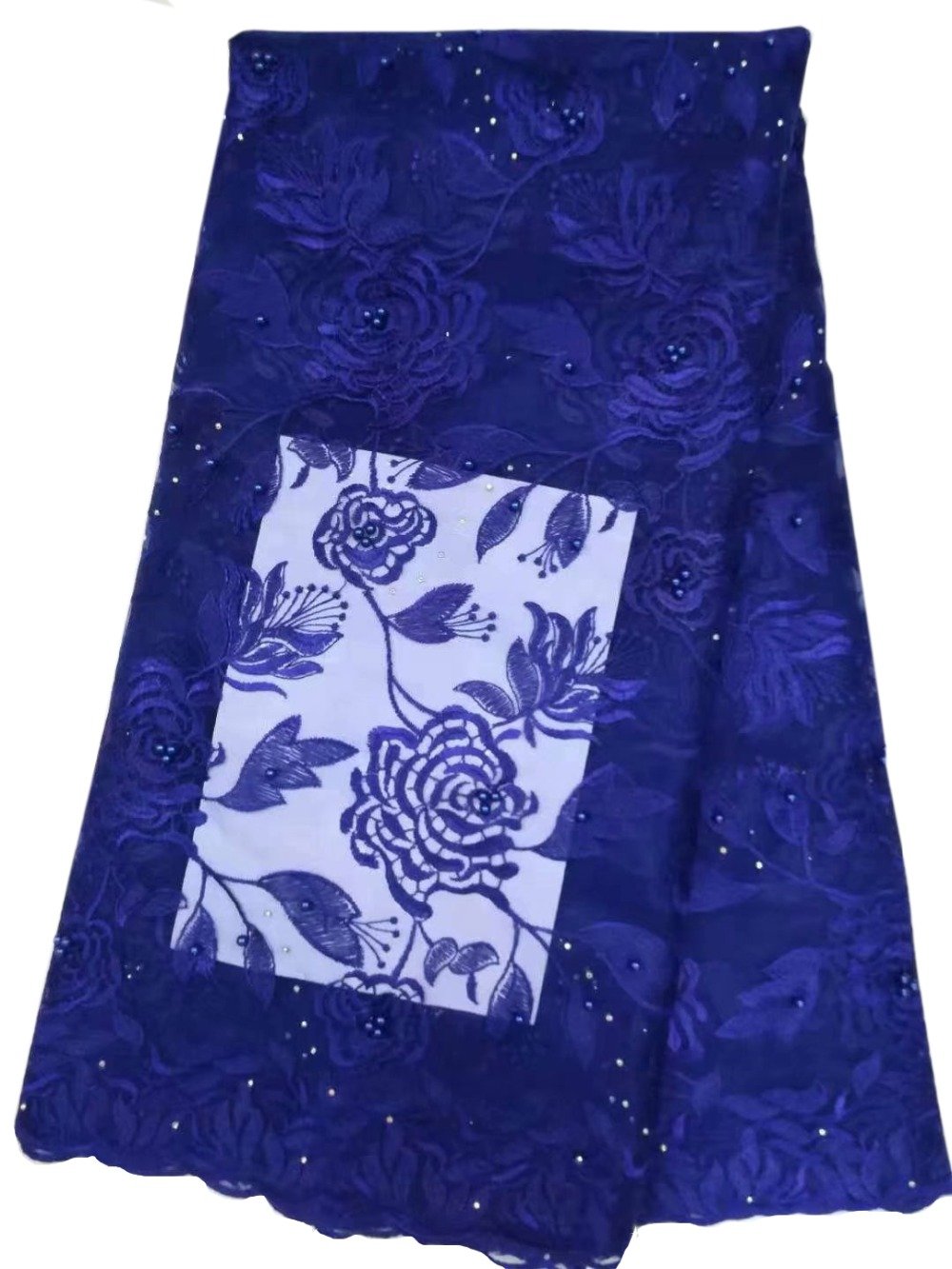 French lace fabrics Blue tulle lace embroidery fabric with beads stones Latest style african lace 5yards BE47 in Lace from Home Garden