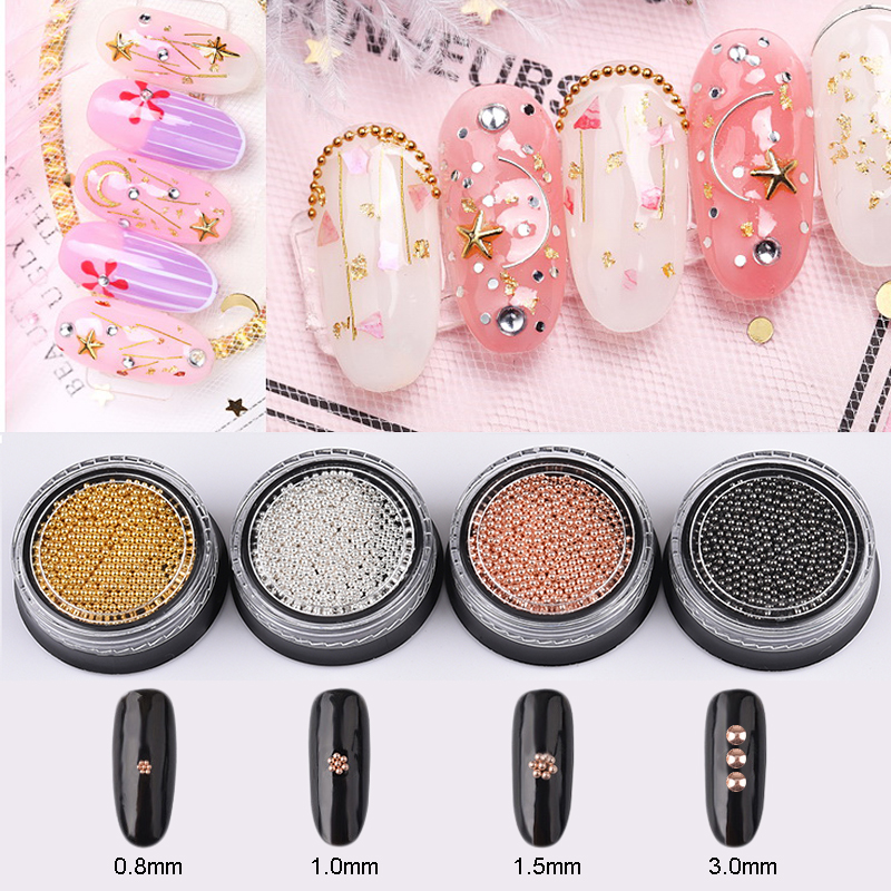 1 box Net Weight 10g Stainless Steel Micro Caviar nail Beads 0.8/1.0/1.5/3.0mm for nails art dekor ongle nail decoration TPJ10