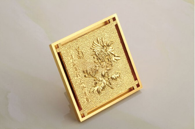 free shipping Europe style high quality brass art carved flower gold square 4'size deodorization floor drain waste drain free shipping high quality antique brass carved flower art bathroom accessory floor drain waste grate100mm 100mm yt 2110