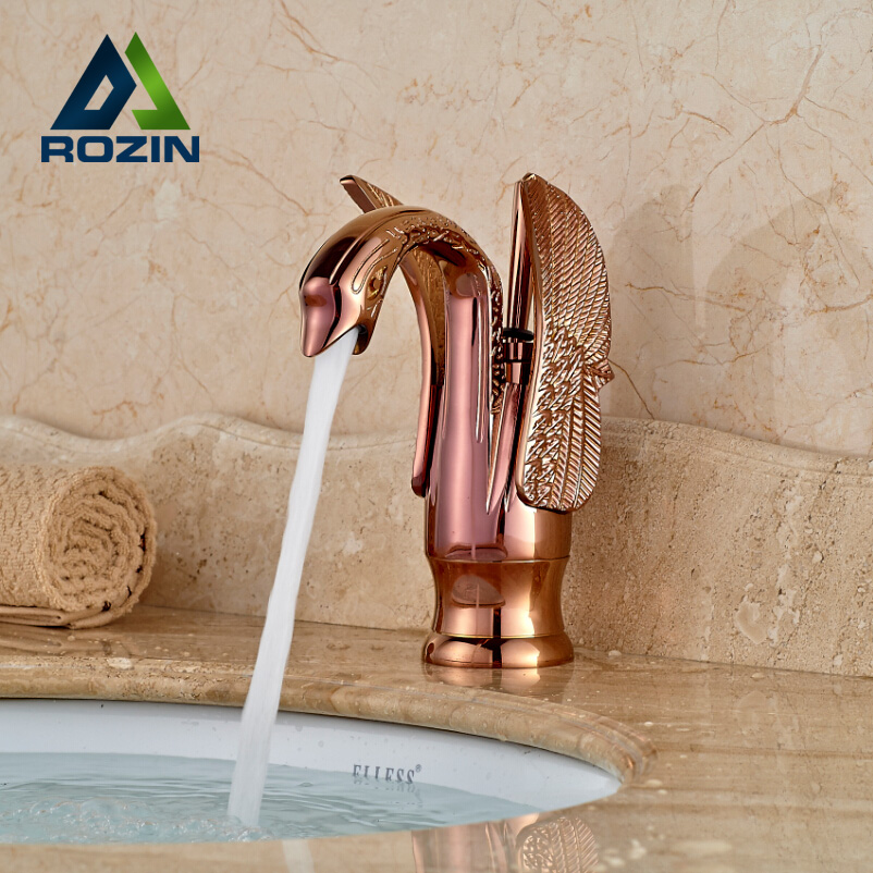 ФОТО Luxury Rose Golden Bathroom Basin Mixer Faucet Deck Mount Brass Swan Shape Hot and Cold Water Mixer Taps