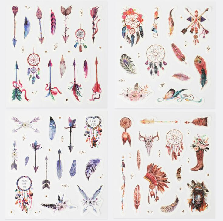 4 Pcs/pack Feather Arrow Decorative Stationery Stickers Scrapbooking DIY Diary Album Stick Label