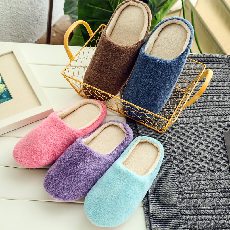 Cute Plush Indoor Women Slipper Warm Cotton Shoes Soft Sole Flat Slippers Wooden Floor Pantufa Home Shoes Solid Slipper ABT1095 tolaitoe new winter warm home women slipper cotton shoes plush female floor shoe bow knot fleece indoor shoes woman home slipper