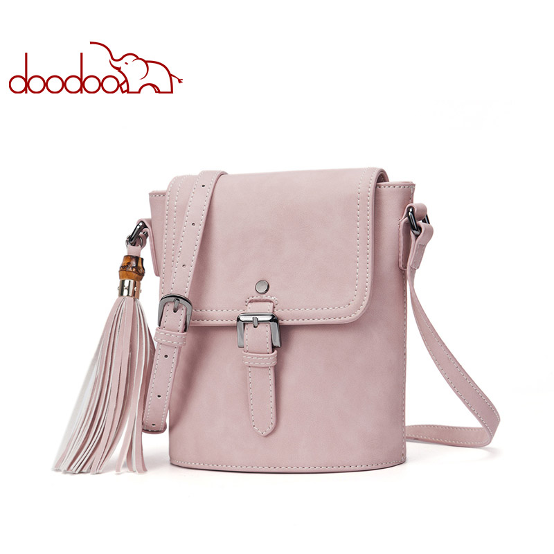 DOODOO Women Shoulder Bags Female Small Handbag Ladies Solid Messenger Bag Artificial Leather Small Tassel Crossbody Bucket Bag 2017 fashion bucket women messenger bag solid tassel pu leather ladies small crossbody bags women brand designer shoulder bags