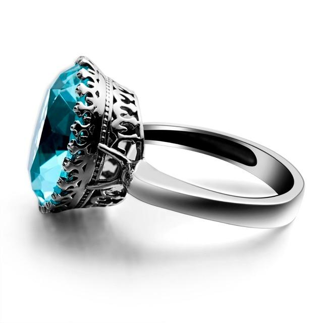 Szjinao Crown Shape Fashion Vintage Aquamarine Romantic Big Rings for Women Wedding Engagement 925 silver Luxury Brand Jewelry