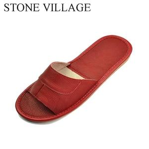 Image 2 - 스톤 빌리지 정품 가죽 신발 홈 슬리퍼 고품질 암소 가죽 실내 신발 남성과 여성 신발 여름 크기 35 45