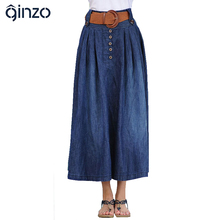 Women's casual wide flare skirt Lady's large size ankle length long denim skirt with belt Free shipping