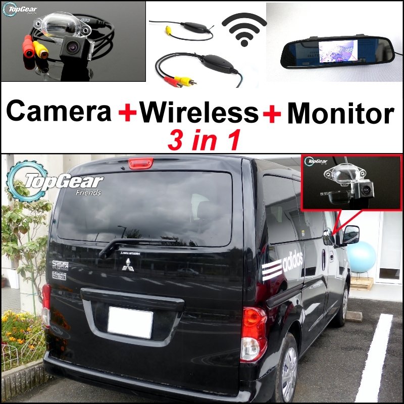 3 in1 Rear View Special Camera + Wireless Receiver + Mirror Monitor Easy DIY Back Up Parking System For Mitsubishi Delica for ford escape maverick mariner car parking sensors rear view back up camera 2 in 1 visual alarm parking system