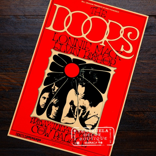 Pop Art The Doors Heavy Metal Rock Music Band Poster Retro Vintage Kraft Decorative DIY Wall