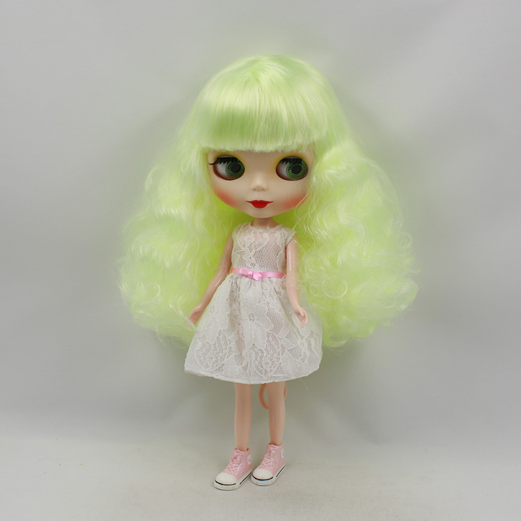 все цены на Blyth doll nude yellow-green bangs long hair mini dolls for girls