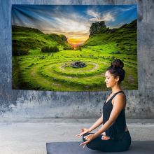 Mountain Meditation Chakra Tapestry Indian Wall Hanging Cloth Tapestries Psychedelic Yoga Carpet Home Decor